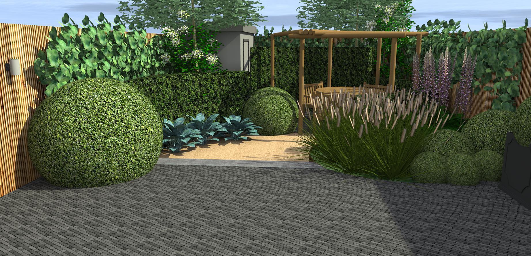 Landelijke tuin met ronde vormen hoveniersbedrijf den for Tuinontwerp westland