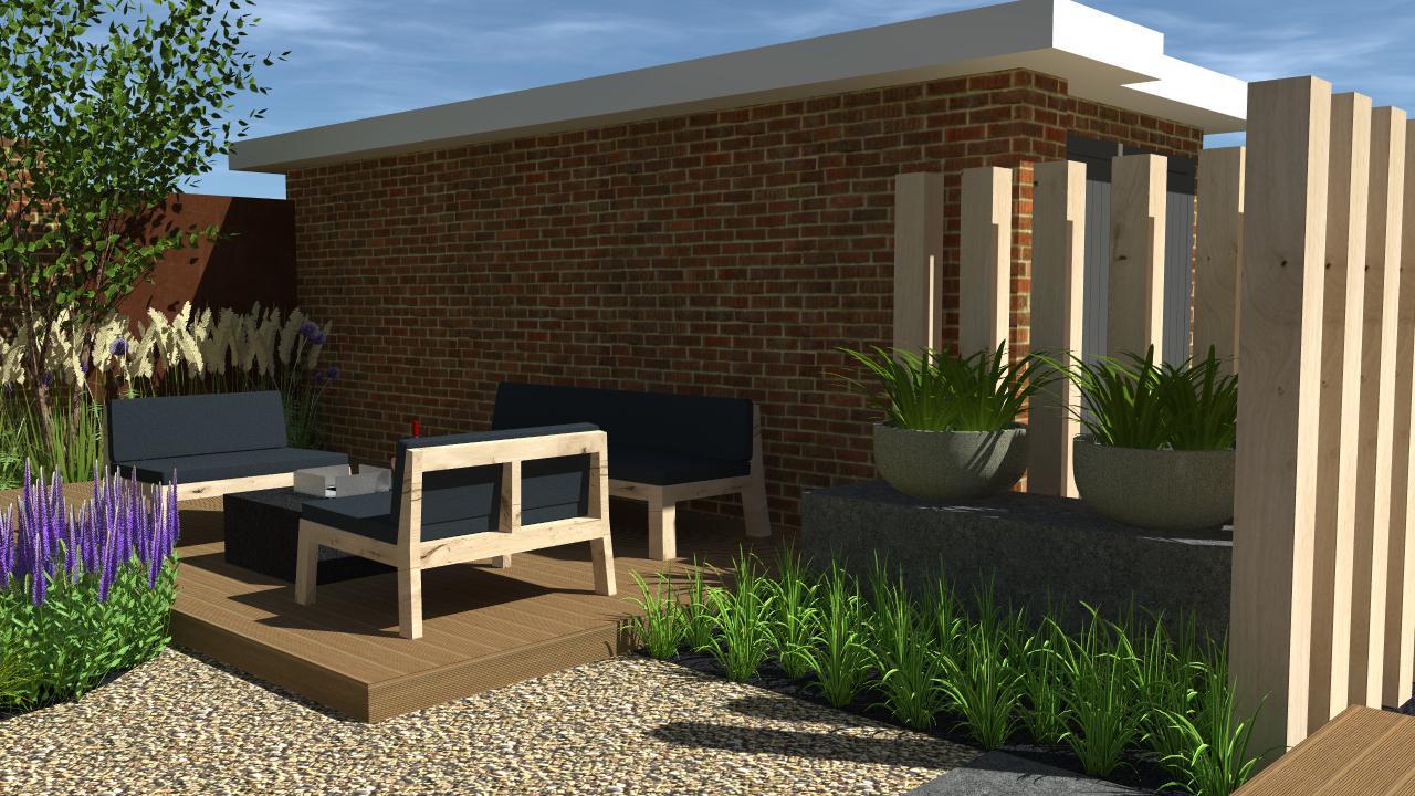 Natuurlijke tuin met overkapping en terrassen rondom for Tuinontwerp westland