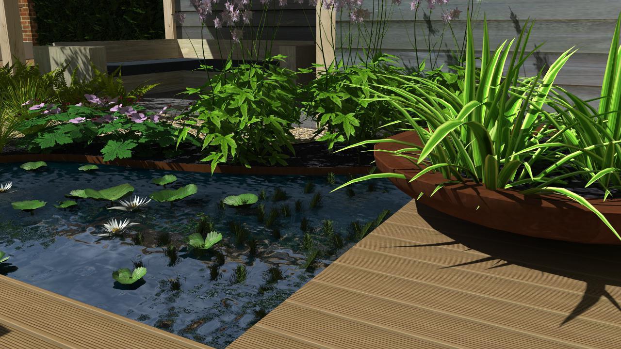 Natuurlijke tuin met overkapping en terrassen rondom for Hovenier den haag