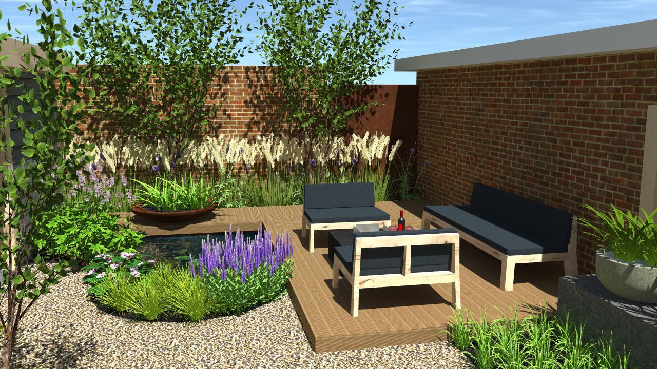 Natuurlijke tuin met overkapping en terrassen rondom for Tuinontwerp natuurlijke tuin