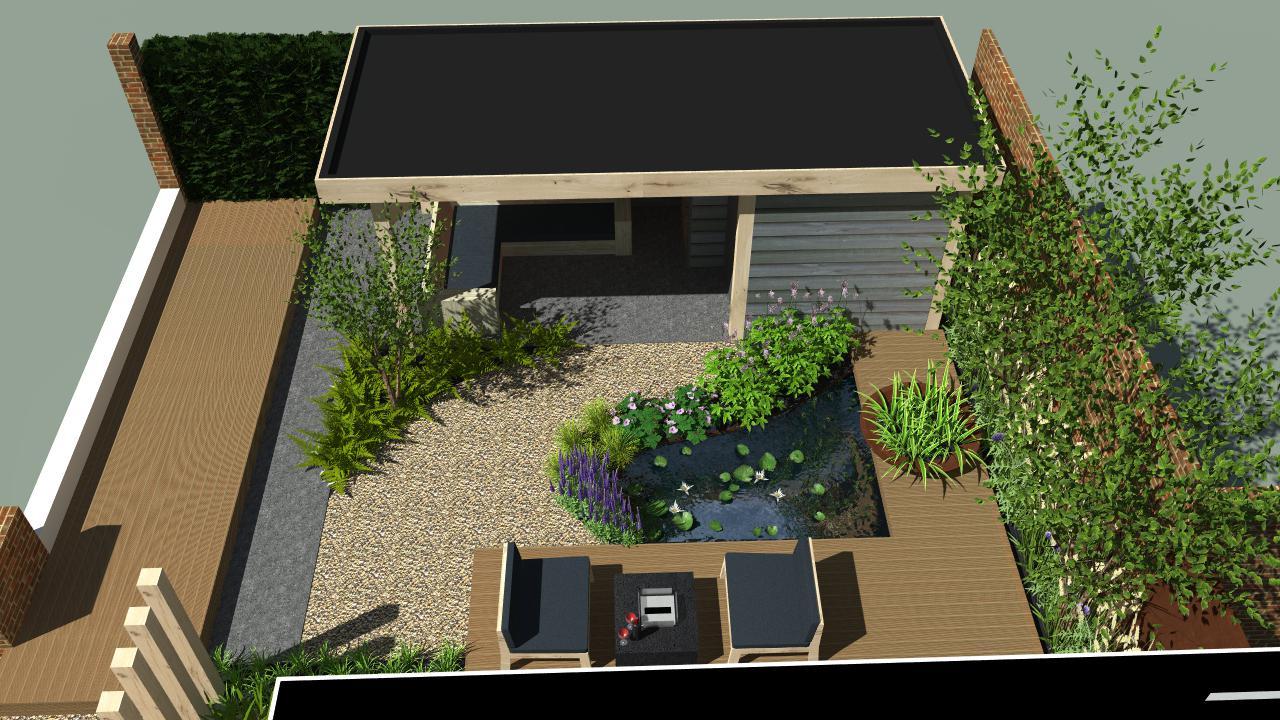 Natuurlijke tuin met overkapping en terrassen rondom vijver