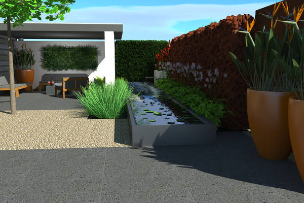 Tight garden with roof and water element