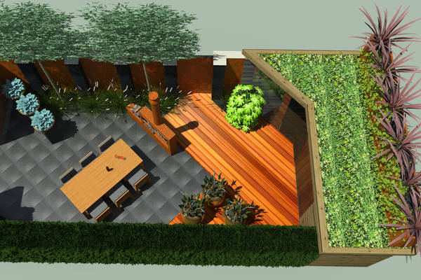 A small garden with many possibilities, atmosphere and warm tones